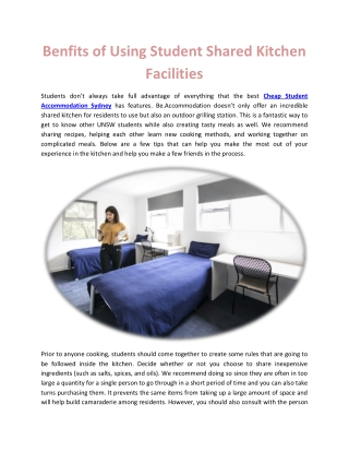 Benfits of Using Student Shared Kitchen Facilities
