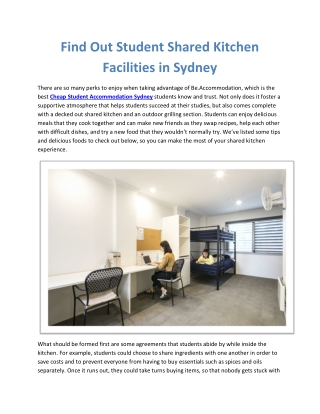 Find Out Student Shared Kitchen Facilities in Sydney