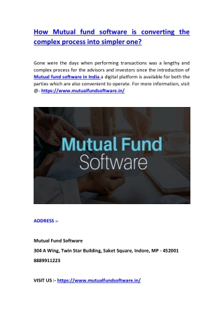 How Mutual fund software is converting the complex process into simpler one?