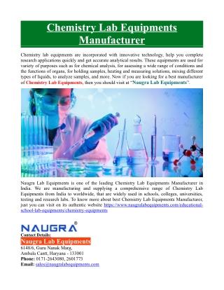 Chemistry Lab Equipments Manufacturer
