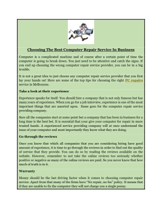 Choosing The Best Computer Repair Service In Business