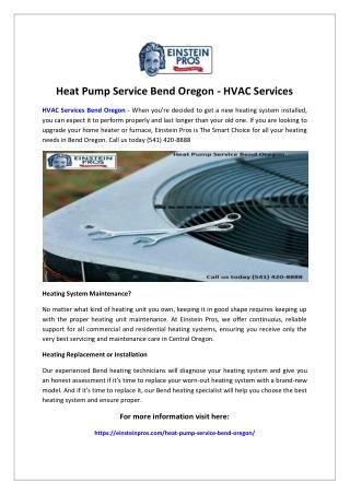 Heat Pump Service Bend Oregon - HVAC Services