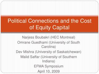 Political Connections and the Cost of Equity Capital