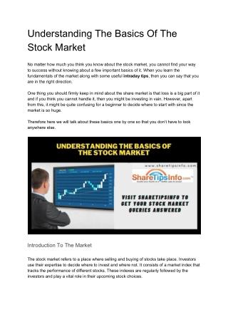 Understanding The Basic of Stock Market