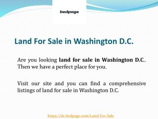 Land For Sale in Washington D.C.