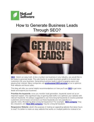 How to Generate Business Leads Through SEO?