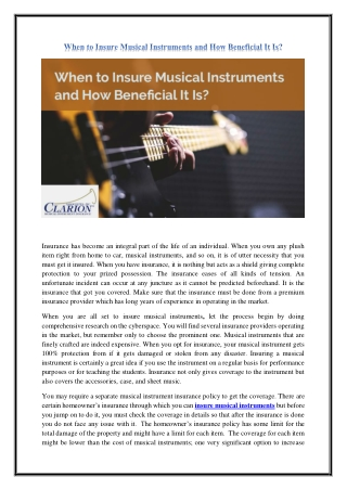 When to Insure Musical Instruments and How Beneficial It Is?
