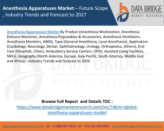 Anesthesia Apparatuses Market– Future Scope , Industry Trends and Forecast to 2027