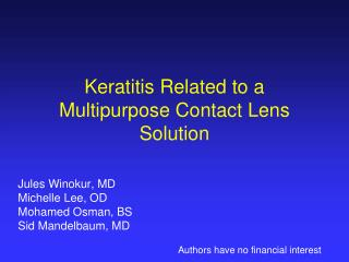 Keratitis Related to a Multipurpose Contact Lens Solution