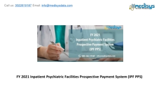 FY 2021 Inpatient Psychiatric Facilities Prospective Payment System (IPF PPS)