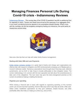 Managing Finances Personal Life During Covid-19 crisis - Indianmoney Reviews