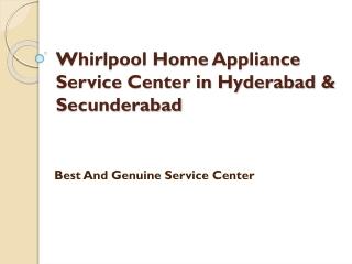 Whirlpool Service Center in Hyderabad