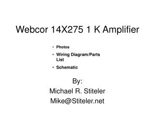 Webcor 14X275 1 K Amplifier