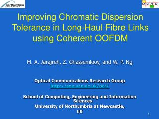Improving Chromatic Dispersion Tolerance in Long-Haul Fibre Links using Coherent OOFDM