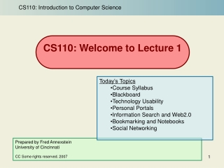 CS110: Introduction to Computers and Applications