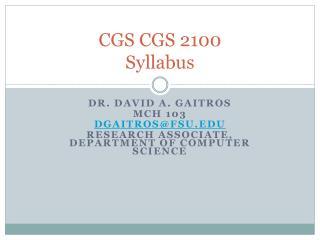 CGS CGS 2100 Syllabus