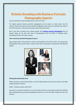 Website Branding with Business Portraits Photography Experts