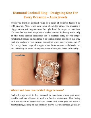 Diamond Cocktail Ring – Designing One For Every Occasion - Aura Jewels