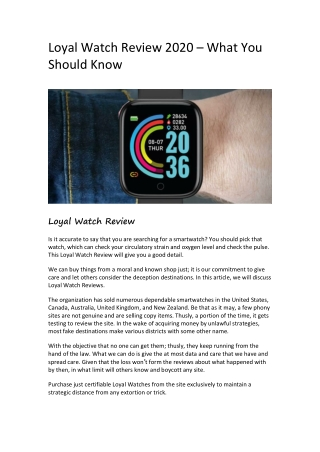 Loyal Watch Review 2020 – What You Should Know