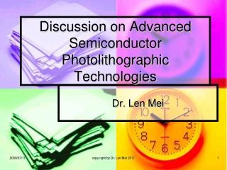 Advanced Photolithography