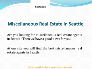 Miscellaneous Real Estate in Seattle
