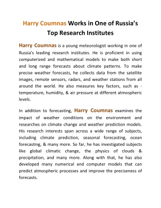 Harry Coumnas Works in One of Russia's Top Research Institutes