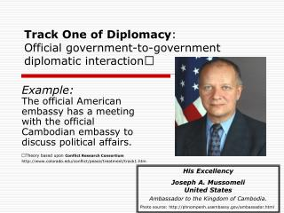 Track One of Diplomacy :  Official government-to-government diplomatic interaction