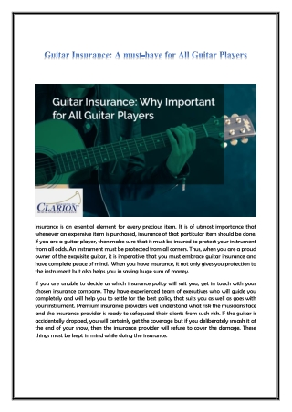 Guitar Insurance: A must-have for All Guitar Players