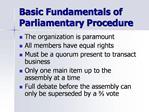 Main Motions and Amendments