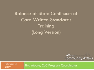 Case Management for Continuum of Care Projects