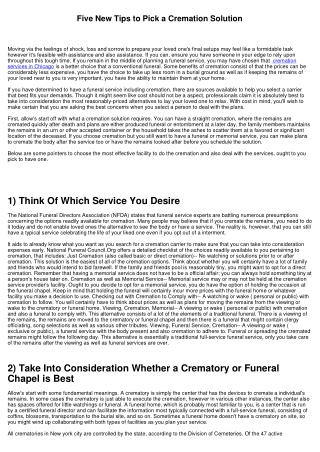 Five New Tips to Select a Cremation Service