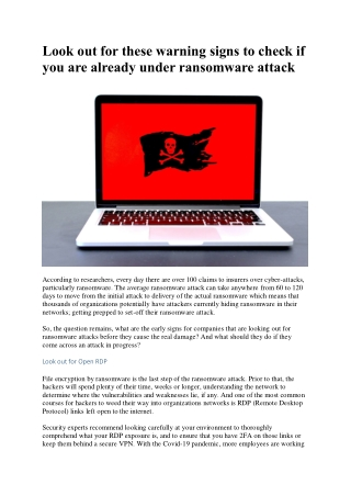 Look out for these warning signs to check if you are already under ransomware attack