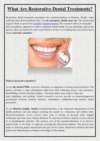 What Are Restorative Dental Treatments?