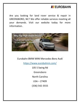 Greensboro Land Rover Services