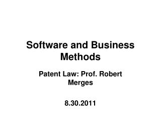 Software and Business Methods