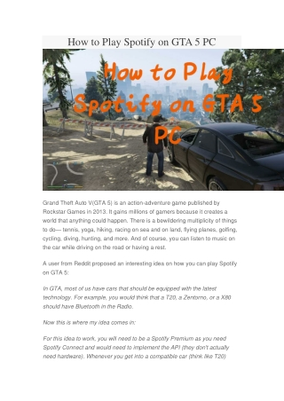 How to Play Spotify on GTA 5