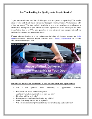 Are You Looking for Quality Auto Repair Service?