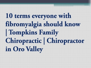10 terms everyone with fibromyalgia should know | Tompkins F