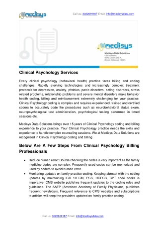 Clinical Psychology Services