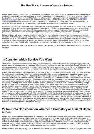 Five New Tips to Pick a Cremation Solution