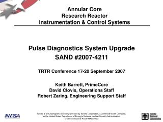 Annular Core Research Reactor Instrumentation  Control Systems