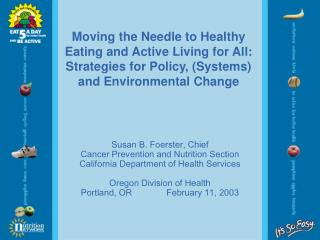 Moving the Needle to Healthy Eating and Active Living for All: Strategies for Policy, (Systems) and Environmental Change