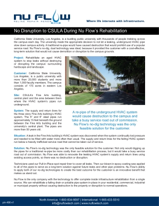 Nu Flow's Rehabilitation At California State University Los-Angeles