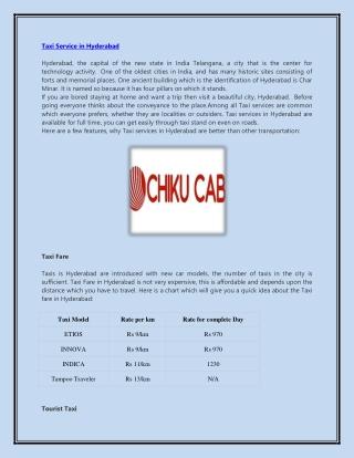 Hire Cab service in hyderabad
