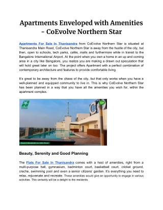 Apartments Enveloped with Amenities - CoEvolve Northern Star