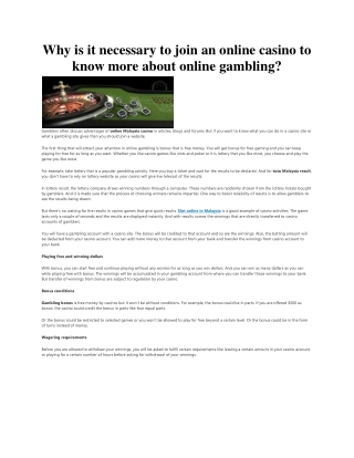 Why is it necessary to join an online casino to know more about online