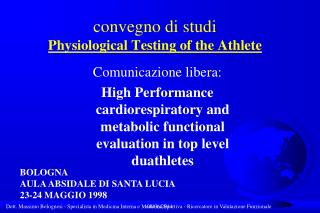 convegno di studi Physiological Testing of the Athlete