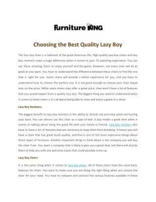 Choosing the Best Quality Lazy Boy