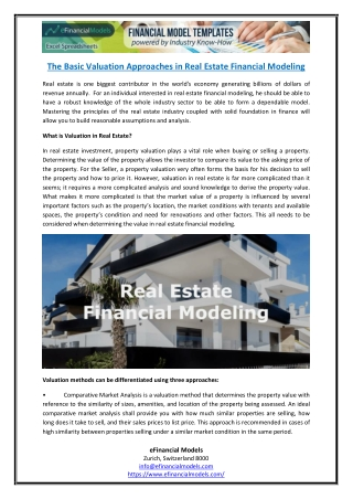 The Basic Valuation Approaches in Real Estate Financial Modeling