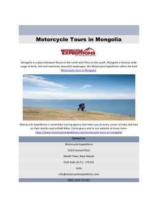 Motorcycle Tours in Mongolia